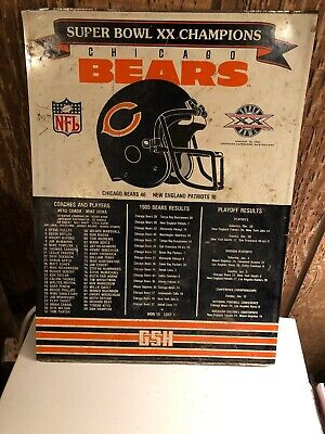 chicago bears super bowl xx champions roster schedule and results wood poster ebay