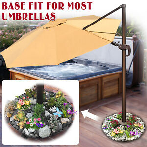 details about patio umbrella stand planter base outdoor deck parasol sand weight universal