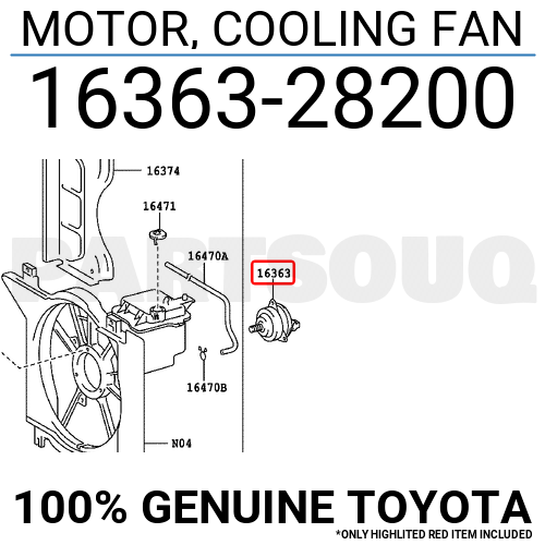 1636328200 Genuine Toyota MOTOR, COOLING FAN 16363-28200