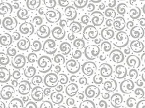 Quilting Treasures Metals 23538 ZK White/Silver Curly Cue