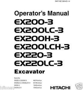 Hitachi EX200-3 EX220LC-3 EX220-3 Excavator Operators