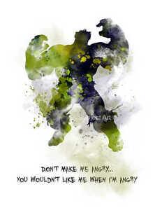 ART PRINT Incredible Hulk Quote illustration, Superhero