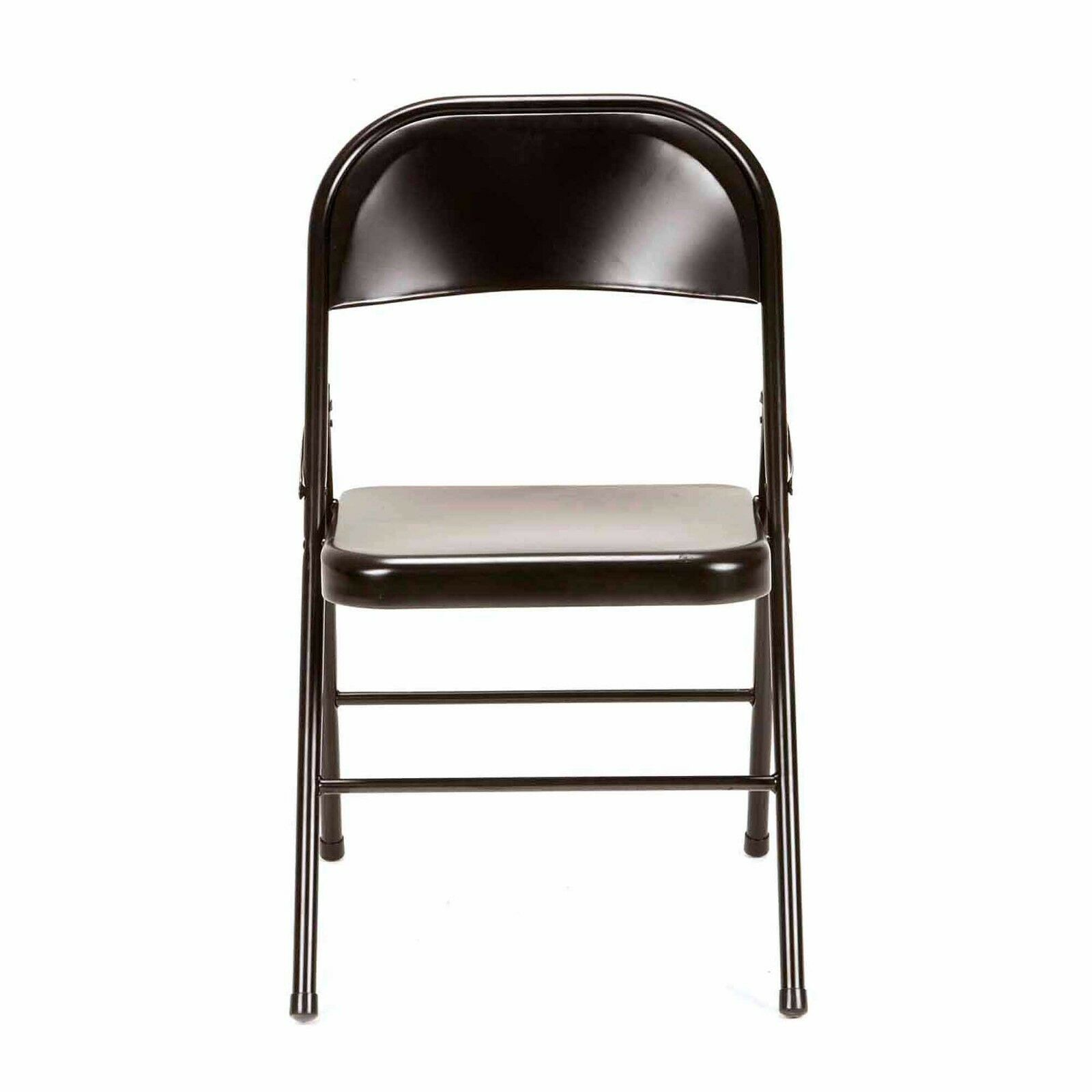 armless folding chair home office desk chairs uk set of 4 mainstays black metal finish traditional steel