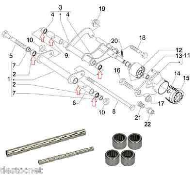 Kit reparación Brazo basculante/soporte del motor Piaggio