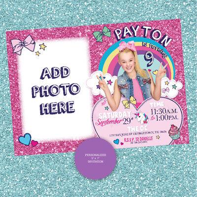 jojo siwa invitation custom personalized jojo birthday printable invite ebay