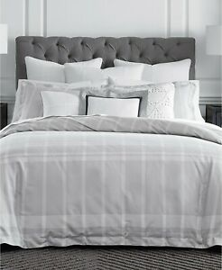 details about tommy hilfiger argosy cotton reversible plaid comforter set twin light grey