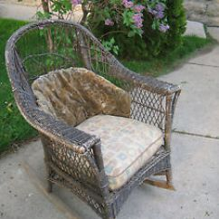 Antique Wicker Chairs Wood Office Chair No Wheels Rocker Rocking Original Cushions Patio Image Is Loading