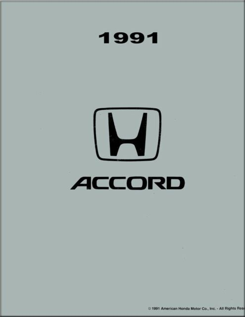 1991 Honda Accord Shop Service Repair Manual Book Engine