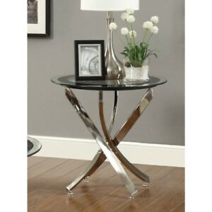 details about new modern chrome black glass accent side table furniture sofa tables decor end