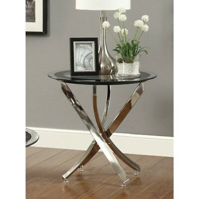 new modern chrome black glass accent side table furniture sofa tables decor end ebay