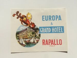 Details About Vintage Hotel Luggage Label Europa Grand Hotel Rapallo Italy