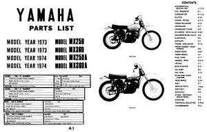 1973 1974 Yamaha MX250 MX360 MX250A MX360A Motorcycle