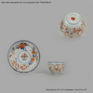 "Perfect 18C Japanese Porcelain Cup & Saucer Imari 'Flowers"" Antique Edo ..."