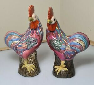 A Pair Of Early 20th Century Chinese Famille Rose Porcelain Cockerels