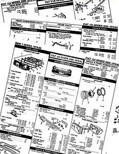 1979 1980 1981 1982 FIAT 124 SPIDER 2000 BODY PART LIST