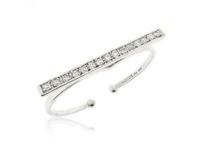 Women Two Finger Ring Minimalist Retro Statement Double Bar Ring Adjustable Ring Ebay