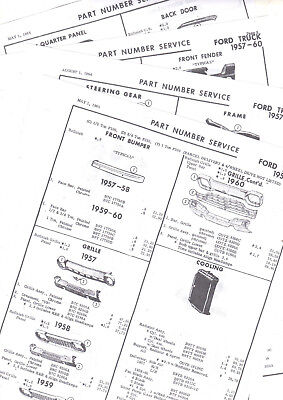 1957 1958 1959 1960 FORD TRUCKS BODY PART & NUMBERS LIST