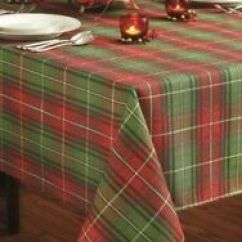 Lenox Christmas Chair Covers Walmart Glider Rocking Benson Mills Plaid Printed Tablecloth 60in By 120in Cover Stock Photo