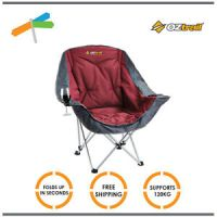 OZtrail Chair Single Moon Lounge with Arms Folding Camping ...