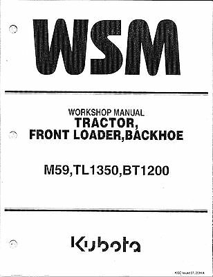 Kubota M59, TL1350, BT1200 Tractor Workshop Service Repair