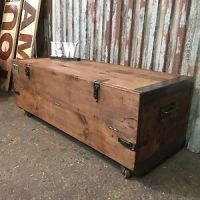 Vintage Pine Trunk Chest Box Coffee Table Rustic ...
