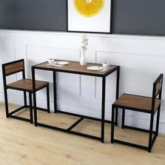 Small Kitchen Table Outdoor Layout Dining 2 Chairs Set Breakfast Bar Black Steel Image Is Loading Amp