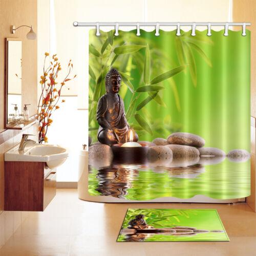 shower curtains shower curtain hooks waterproof fabric bathroom mat buddha zen stone bamboo spa home garden