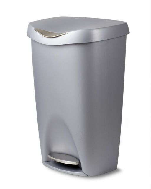 stainless steel kitchen trash can products umbra brim large with foot pedal a