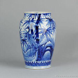 19th c Meiji period Japanese Porcelain Arita Vase Japan Cranes and Bamboo