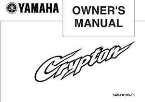 Yamaha Owners Manual Book 2004 T105E Crypton & 2004 T105SE