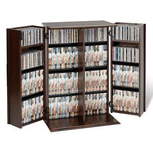 details sur meuble de rangement pour petits verrouillage shaker portes dvd espresso tour rack cd unite afficher le titre d origine