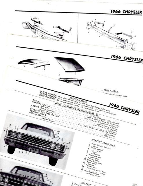 1966 CHRYSLER NEWPORT NEW YORKER BODY PART FRAME MOTOR'S