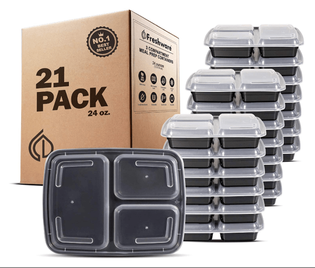 Freshware Meal Prep Containers 21 Pack 3 Compartment with Lids Food Storage Box 2