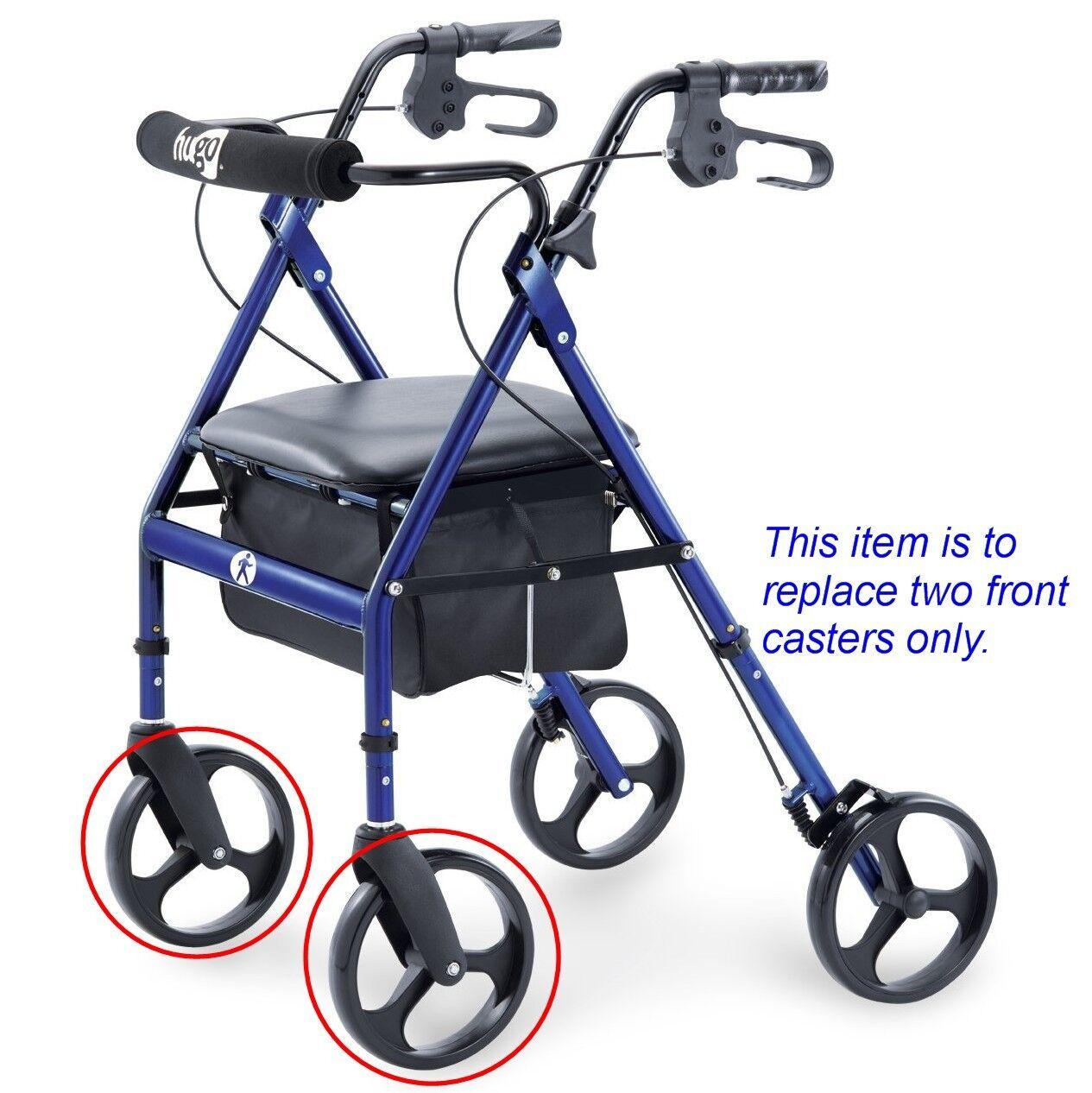 hugo navigator walker transport chair plastic stackable chairs bunnings rollator transporter 8 front caster wheel c4608 bk fit elite for not rear