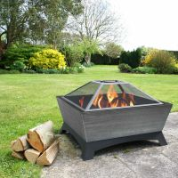Outdoor Fire Pit Wood Burning Rustic Heater Patio Silver