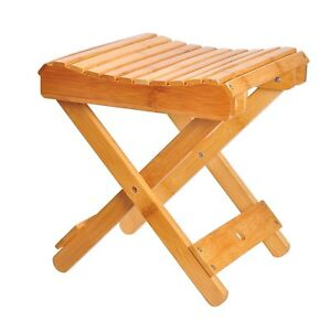 folding chair for bathroom cover company dundee shower stool seat spa bench bamboo wood bath image is loading
