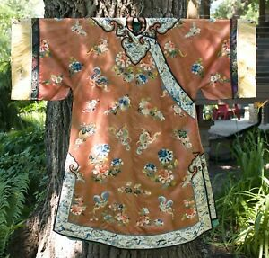 Chinese Embroidered Silk Woman's Robe Qing Forbidden Stitch Apricot Orange