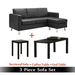 3 Piece Black Leather Living Room Set Wall Decoration Ideas For Tv Sofa Sets Bundle Couch Table Image Is Loading