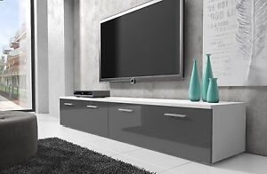 details sur meuble tv armoire bas boston 200 cm corps blanc mat avant gris brillant