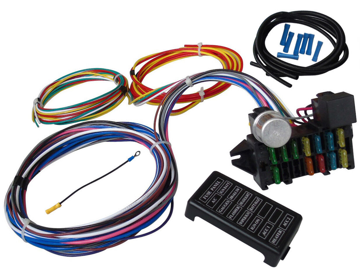 hight resolution of 12 circuit universal wiring harness muscle car hot rod street rod xl hot rod wiring harness also universal street rod wiring harness