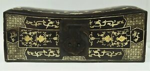 Antique Chinese Asian Gold & Black Lacquer Wood Storage Document Pillow Box