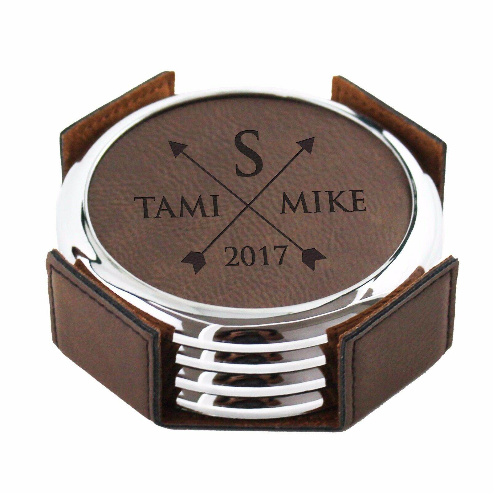 Custom Engraved Leather Drink Coasters