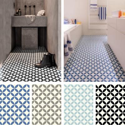 victorian tile effect sheet vinyl flooring cushioned lino kitchen bathroom roll ebay