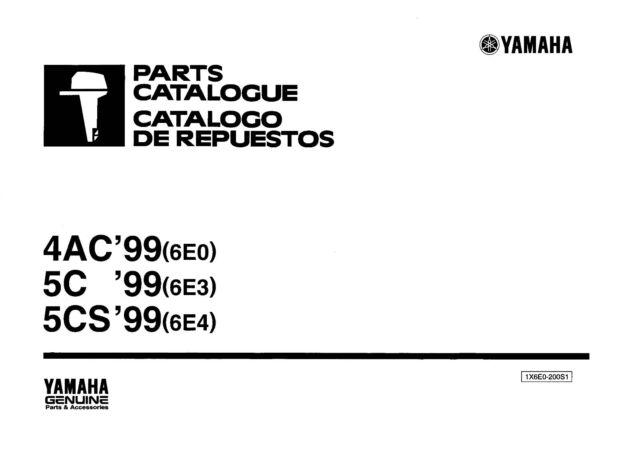 Yamaha Outboard Engine Parts Manual Book 1999 4AC (6EO