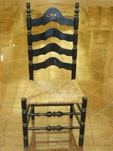 antique ladder back chairs with rush seats flexsteel chair sleeper lancashire cheshire style w stenciled image is loading