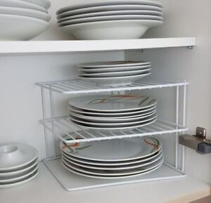 kitchen plates cart with drawers 3 tier white corner plate rack cupboard shelf insert tidy image is loading