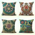 Set Of 4 Art Deco Paisley Flower Cushion Pillow Covers For Couch For Sale Online