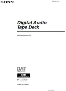Instruction Manual for Sony DAT Recorder dtc-ze700 in
