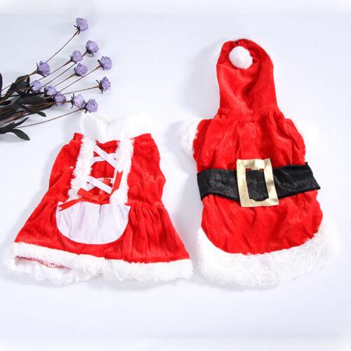Chrismas Santa Costume Puppy Pet Dog Dress Apparel Hoodie Coat Clothing Outwear 4
