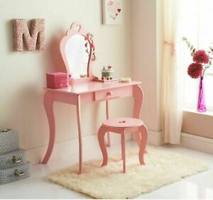 details about amelia vanity children kids wooden set dressing table with mirror stool pink